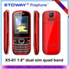 "X5-01 1.8"" dual sim dual band with torch cheap price mobile phone"
