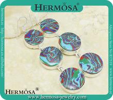 Exotic Colorful Round Zebra Jasper Earring Fashion Dangle Gemstone Earring H9857