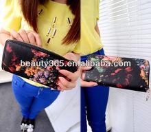 New Stylish Korean Women Ladies Floral Print leather Wallet Clutch Bag Handbag wholesale