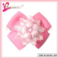 Fashion good quality pink fancy grosgrain ribbon bow hair barrettes for little girls (XH1001--001)