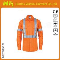 HiVis Orange Cotton reflective safety long sleeve Shirt
