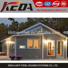 Prefbricated Steel Frame Log Cabin, Wooden Prefabricated Villa