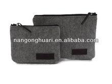 wool felt case for ipad case zippered grey felt bag