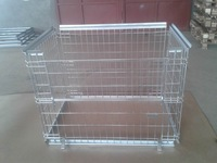 Folding Steel Storage Cage With Wooden Pallet