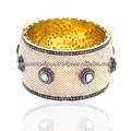 oro 18k spianare diamante polki diamante rosecut perla perline vintage design braccialetto manette
