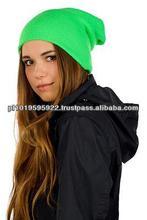 Long double beanie, winter hat FLUO