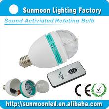 rgb rotating LED stage crystal magic bulb home party disco lighting high power led bulb 3w e27