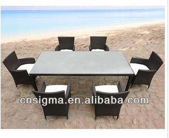 New Wicker Garden Rattan Furniture Premium Rattan 6 Seater Dining table chairs Set