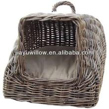 Handmade wicker pet carrier basket