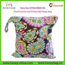 New Colorful Leave Pattern Waterproof Giraffe Wet Bags Snap Handles Wet Bag Diaper Bags For Baby