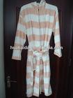 coral fleece bathrobe orange and white stripe