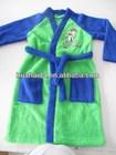 coral fleece bathrobe children green and blue cartoon