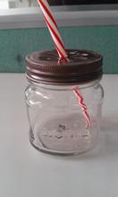 10OZ dring glass mason jar with bronze daisy cut cap