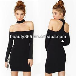 Ladies long sleeve off the shoulder dress Sexy Clubwear Party Knit Mini Sheath Dress
