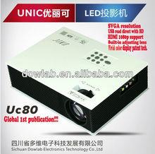 Hottest!!!UC80 1080p support AV 2USB VGA HDMI IP TV professional cinema projector