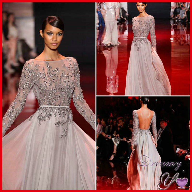 NEW ARRIVAL LONG SLEEVE BEADED CHIFFON OPEN BACK ELIE SAAB DRESSES ...