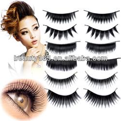 New 60 Pairs 6 Styles False Black Long Eyelashes Free Glue Makeup Cosmetic Set + Eyelash Adhesive