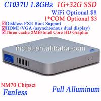 Powerful HD mini computers fanless using Intel Celeron dualcore C1037U 1.8GHz cpu full alluminum 29mm extreme ultra-thin case