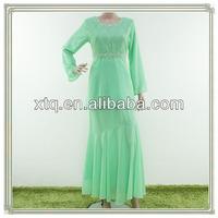 Elegant beading chiffon baju kurung peplum 2013