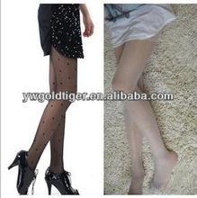 China Custom Sock Manufacturer Wholesale Thigh High Street Fashion Sexy Sheer Japanese Nude Woman Sex Dots Tattoo Women Tights