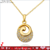 Hollow out ring gold chain necklace FPN609