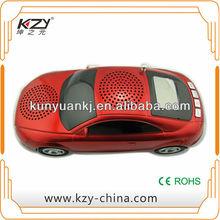 cheap mini speaker car shape with usb tf radio led display