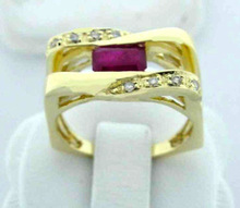 Natural Ruby & Diamond Latest Design Ring in 750 Solid Yellow Gold