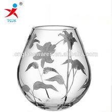 high transparent glass rose vase, glass flower vase for home decor