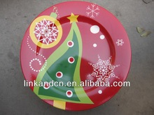 KC-02546christmas tree plates,for kids funny round flat pizza/cake plates