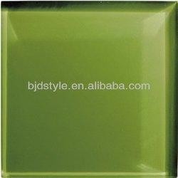 straight Dark green edge gloss glass tile 4x4 crystal clear glass mosaic(CG1)