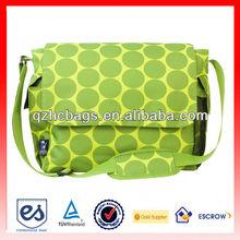 New item 2014 popular big polka dot green shoulder diaper bag(HC-A274)