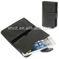 Hot selling Universal Black Genuine Leather mobile phone wallet case for iPhone 5 5C 5S i8190 iPhone 4 with Credit Card Slot