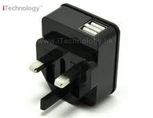 New Model Universal EU Plug 2 Usb Ports Black Color external charger case for iphone 5