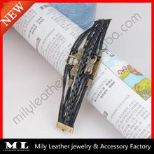2014 stock sale handmake antique bronze owl anchor infinity faith charm braided leather bracelet vners MLAB-0446