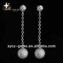 Crystal cz ball shape 925 silver drop earrings