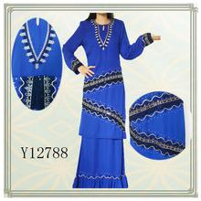 New fashion embroidered chiffon design baju kurung 2013