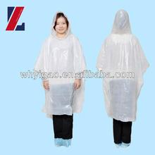 Disposable white PE adult rain coat