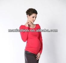 Maternity long sleeve elastic waist blouse