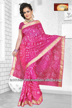 Art silk saree without work in Pink color