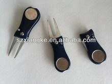 Blue Golf Divot Repair Switchblade Tool / Ball Marker