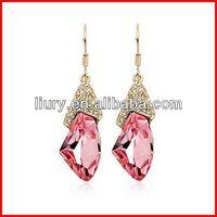 Pink crystal drop earring