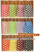 Supply Kraft Polka Dot Paper Bag with handle, Gift Packaging Bag from alibaba china