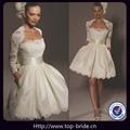 tb10391 moda encanto curto vestidos de noiva com mangas de renda