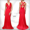 HE09008RD Popular Elegant Red Sexy V-neck Satin Bridesmaid Party Prom Recommended Dress