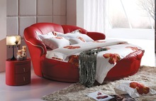 Red round luxury bed design for marriage2014