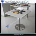 Clásico de acero inoxidable de la pierna blanco pequeño cuadrado tapa de mármol de mesa de comedor/mesa de café para el restaurante