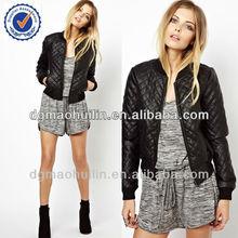 2014 latest winter coat black faux fur women quilted jacket
