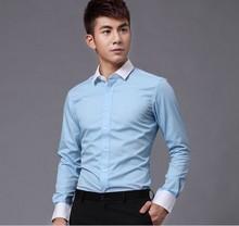 2014 new fashion men's shirts long sleeve cotton shirt italian design contrst cuff and collar men's shirts