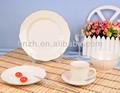 esmalte branco forma de flor em relevo de cerâmica de alta qualidade de jantar conjunto