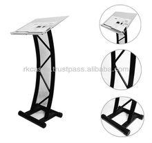 Steel design organic glass church podium, acrylic podium pulpit lectern desk for sale